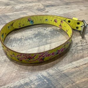 Ed Hardy Yellow Leather multi color belt
